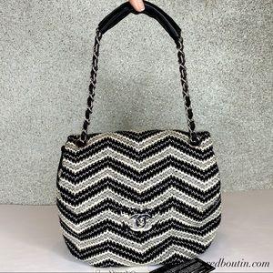 CHANEL Bags - Chanel tweed Classic Flap Shoulder Bag Cc Silver
